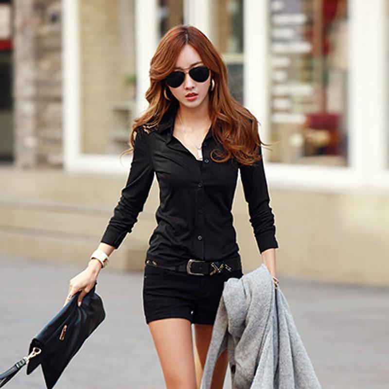 c97d9bec5e5e0 T731 Annakastle New Womens Semi Sheer Chiffon Button Down Pocket Utility  Shirt Blouse Black 2 black button down shirt women