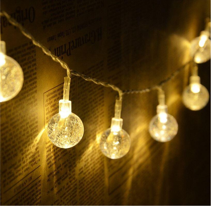 Novelty Battery Operated 20 LED Crystal Ball String Light Ambiance Lighting  for Outdoor Patio Pathway Party Bedroom Decoration - Novelty Battery Operated 20 Led Crystal Ball String Light Ambiance