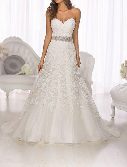 Discount crazy sweetheart lace appliques rhinestones waist for Wedding dresses near me cheap