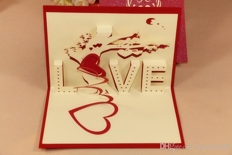 3D Love Tree Greeting Card Wedding Handmade Creative Kirigami – Wedding Gift Cards Online