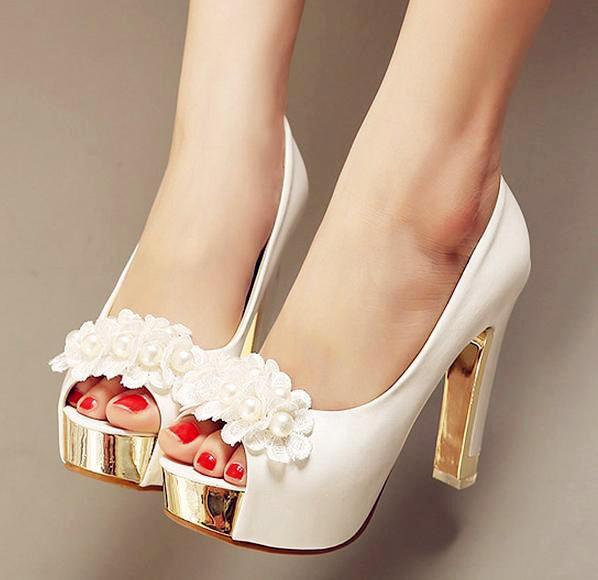 pearl wedding shoes pumps white high heels peep