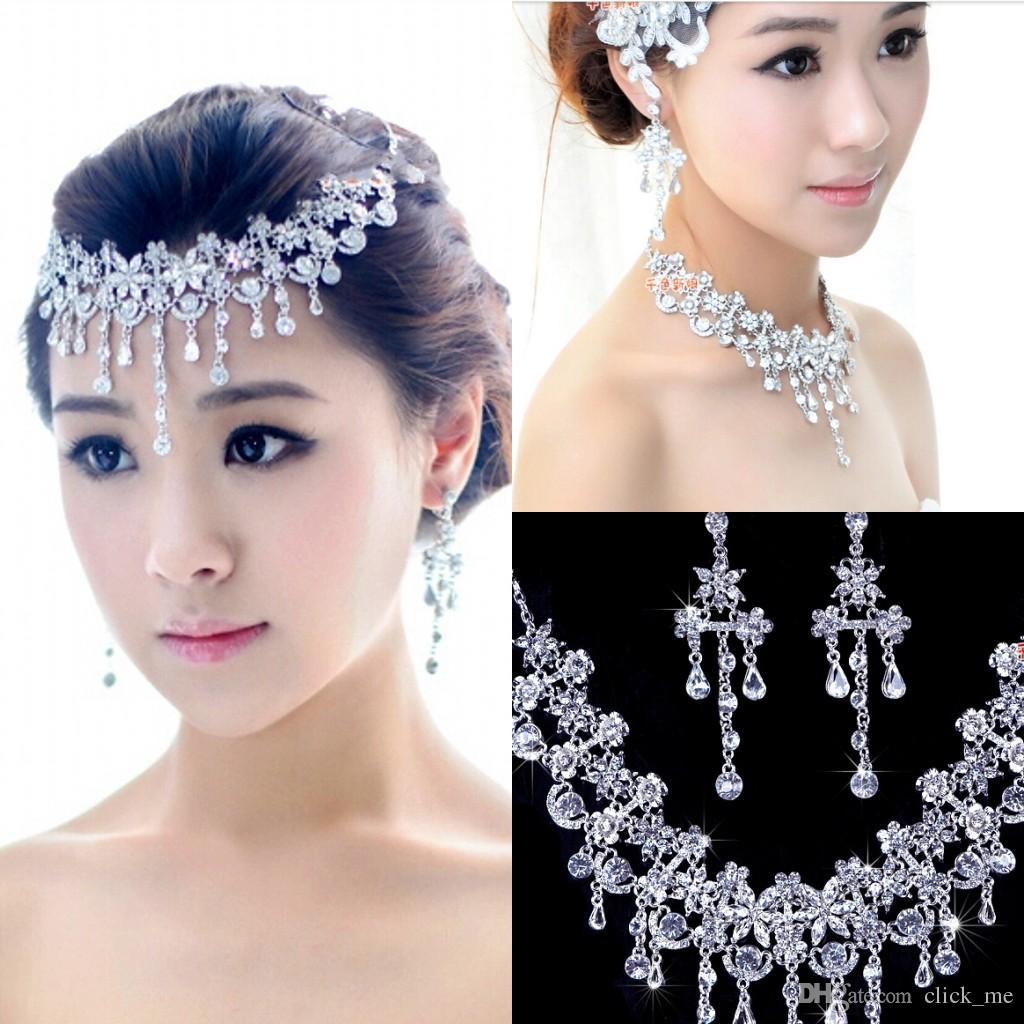 Hair accessories wedding cheap - New Arrival Earring Necklace Bridal Crown Romantic Hot Tow Pieces Crystals Wedding Bridal Jewelry Set Dress Hair Accessories Hair Accessories Wedding Hair