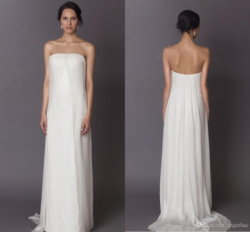 Discount sexy strapless organza wedding dresses 2015 for Simply white wedding dresses