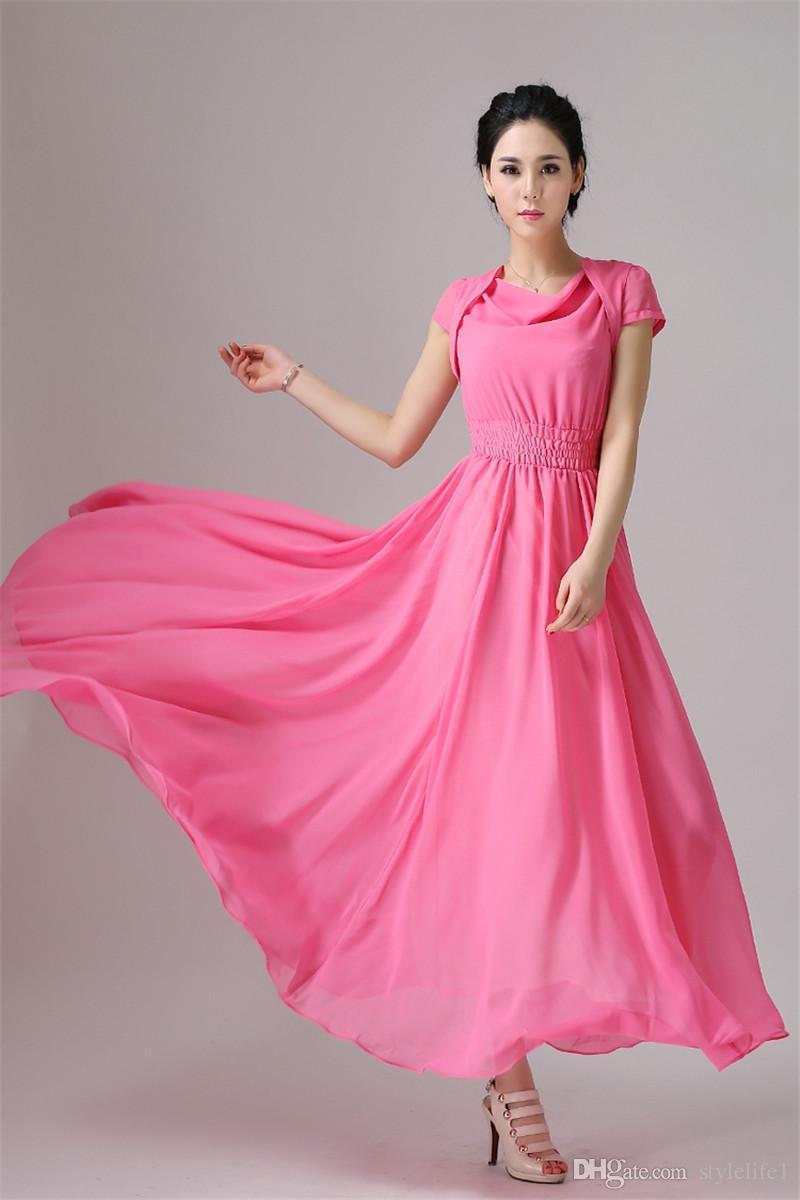 2015 Hot Sale! Summer Maxi Dress Chiffon Bridesmaid Dresses ...