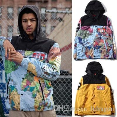North The World Map Jacket Reflective Flag Map Mens Hoodie Jacket Windbreaker