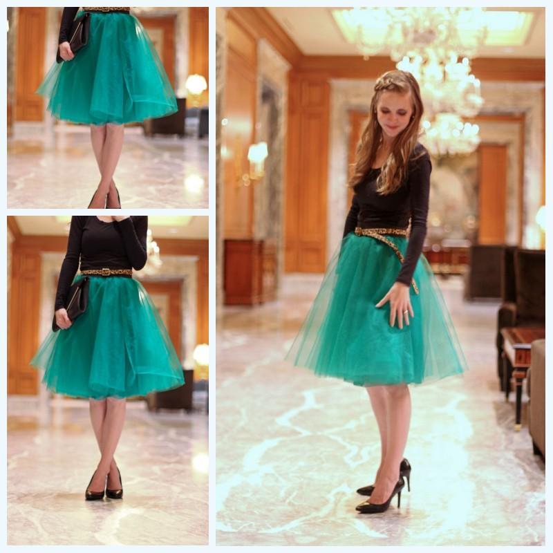 Elegant Hunter Green Tutu Skirt For Women And Girls 2016 Knee Length Tutu Tulle Skirt Weddings ...