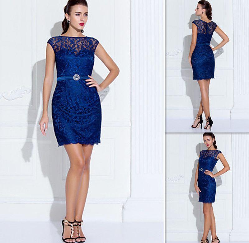 Royal Blue Lace Graduation Dresses Cap Sleeves Sheath Short Sheer ...