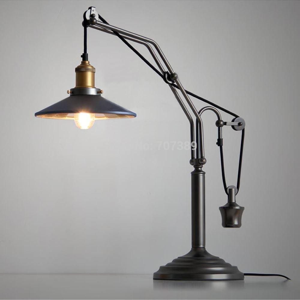 2017 rh loft vintage elevator lift pulley table desk lamp. Black Bedroom Furniture Sets. Home Design Ideas