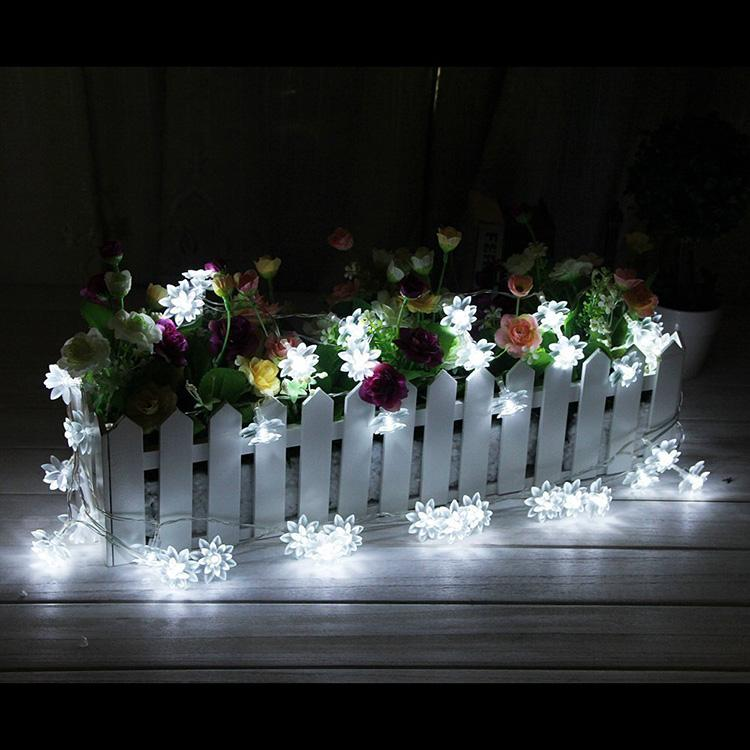 20 led solar powered lotus flower outdoor string lights solar lantern lamps for garden wedding christmas party festival outdoor indoor decor lotus flower