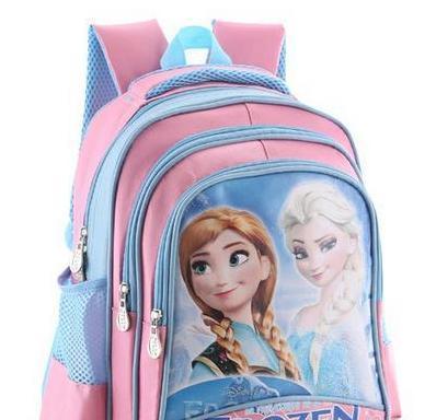 "13"" Frozen elsa anna Bag Cartoon Children School Backpack Bags 23*18.5*36CM Three Layer Medium School Bag"
