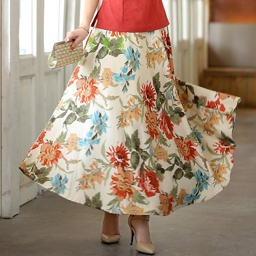 Women Long Skirts Blend Linen Long Shirt Casual Skirt Spring ...
