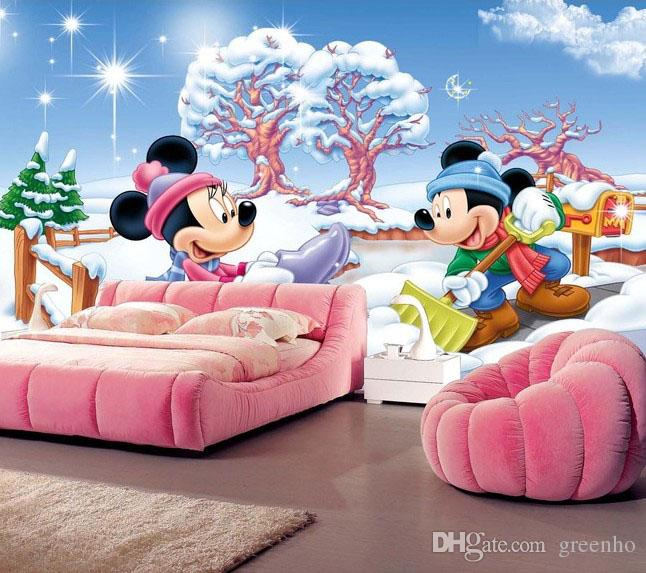 Custom wall mural photo wallpaper mickey minnie cartoon for Define mural painting