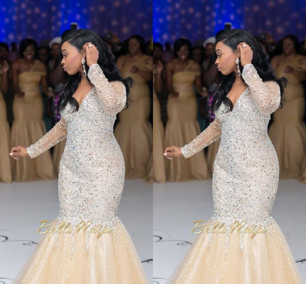 2015 Bling Bling Arabic Wedding Dresses Mermaid V Neck