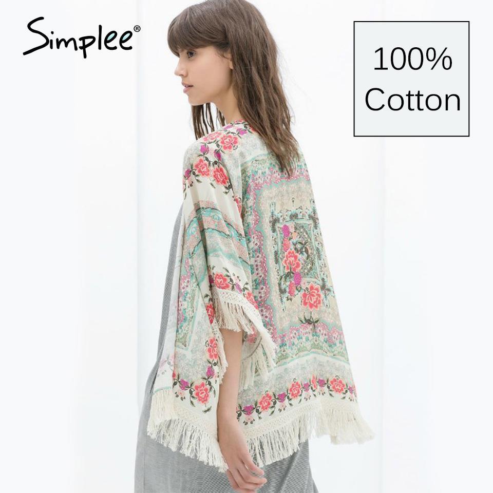100% Cotton Kimono Cardigan Flower Printed Vintage Women Kimono ...
