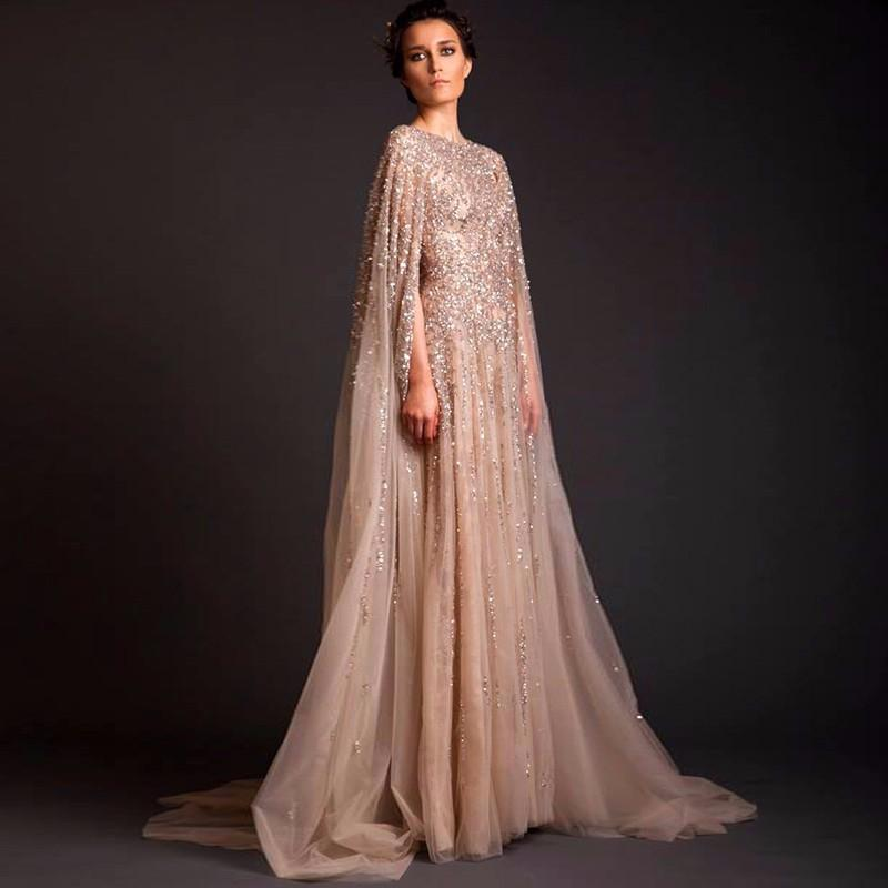 Saudi Arabia Muslim Champagne Evening Party Dresses 2017 Sequin ...