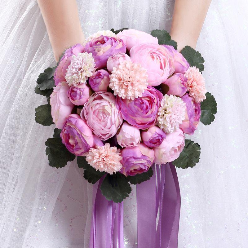 Artificial Wedding Bouquets Liverpool : Light purple bouquets wedding wholesale peony flower