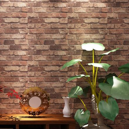 Natural rustic red brick stone wallpaper vintage 3d effect for Brick effect wallpaper living room ideas
