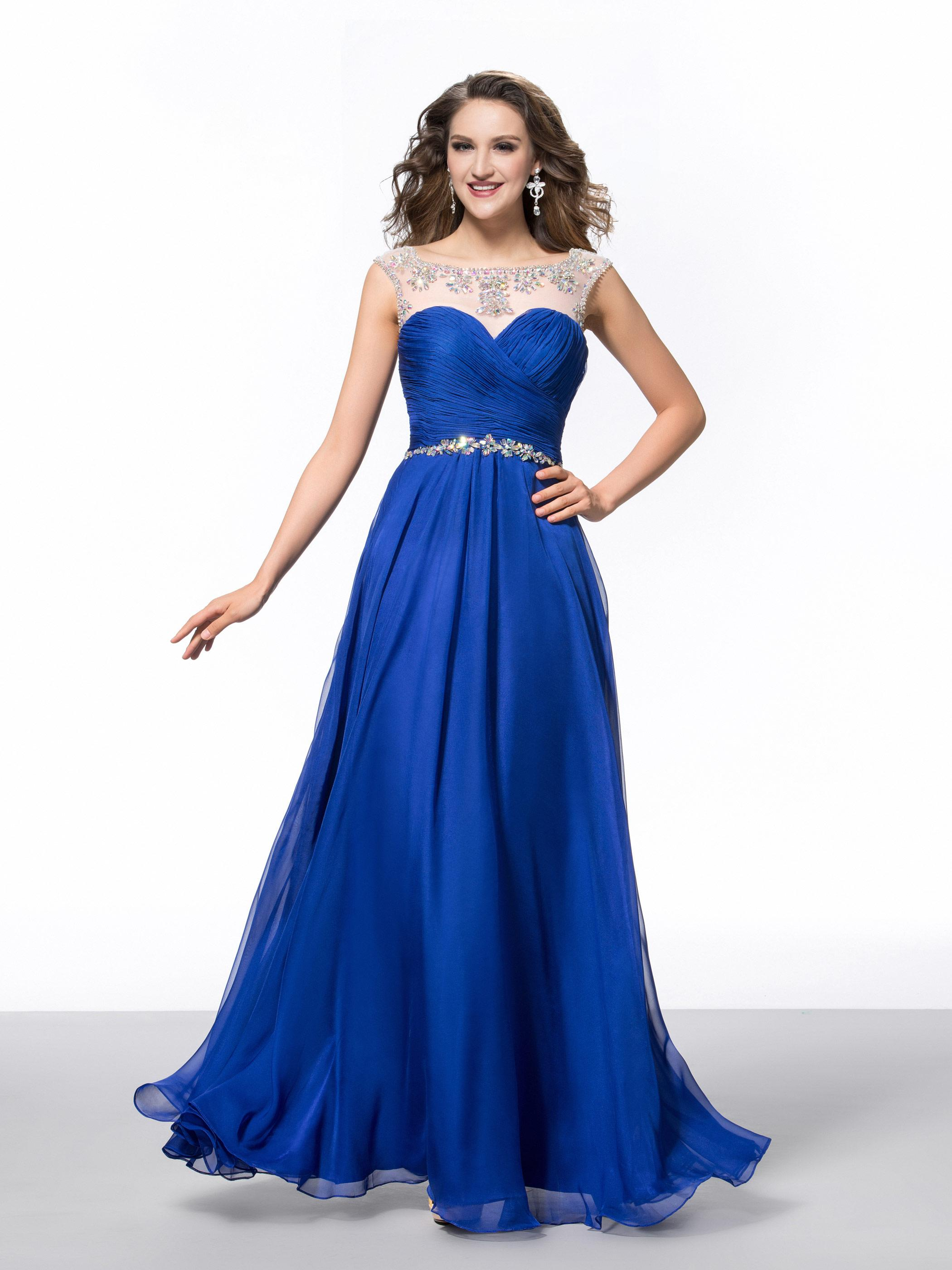 Fashion Blue Sapphire Beads Crystals Prom Dresses 2016 Sweetheart ...