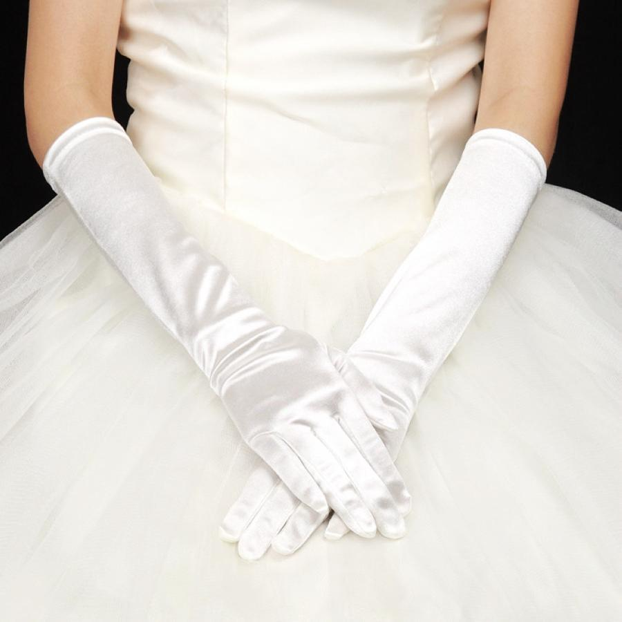 Simple 2015 satin elbow length bridal gloves fall winter for Wedding dress with long gloves