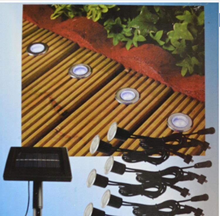 Solar Power LED Deck Lights Floor Lamp Stair Light IP67 Outdoor Waterproof  Underground Lighting 8 Lamps+1 Solar Panel Step Light
