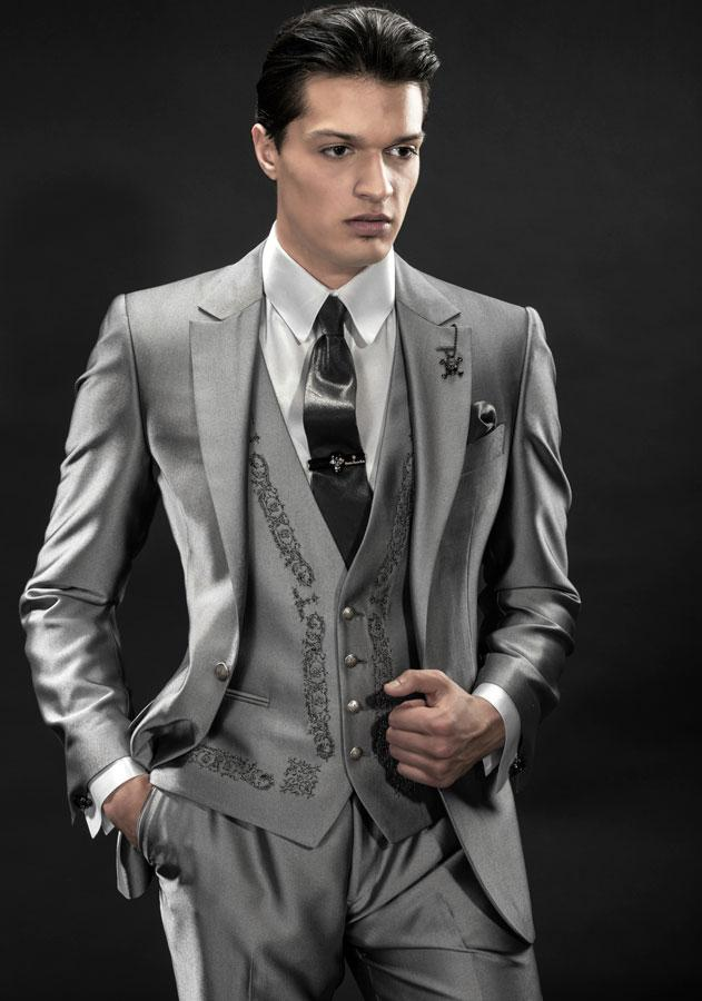 Italian Silver Men Tuxedos Embroidery Wedding Suits For Men ...
