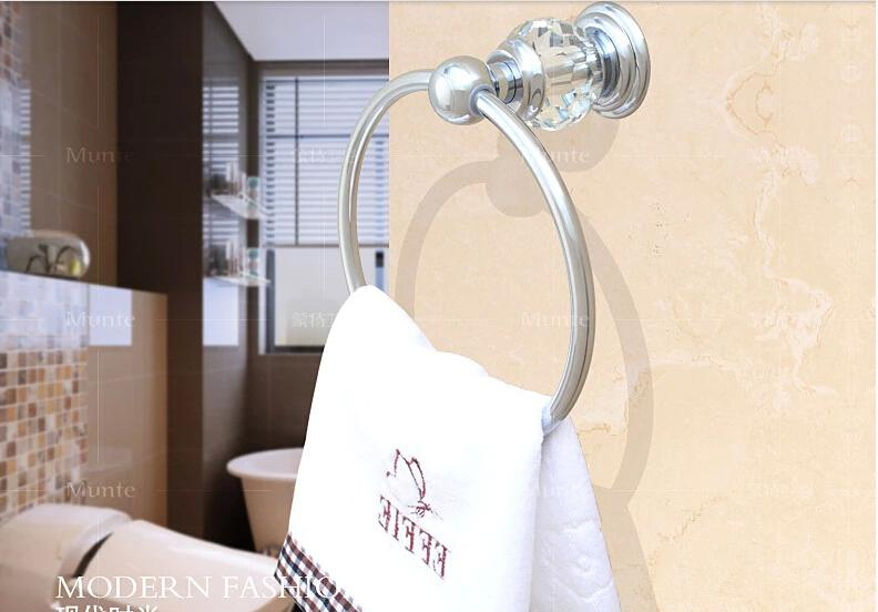 2017 Luxury Crystal & Brass Chrome Towel Ring, Silver Towel Holder ...