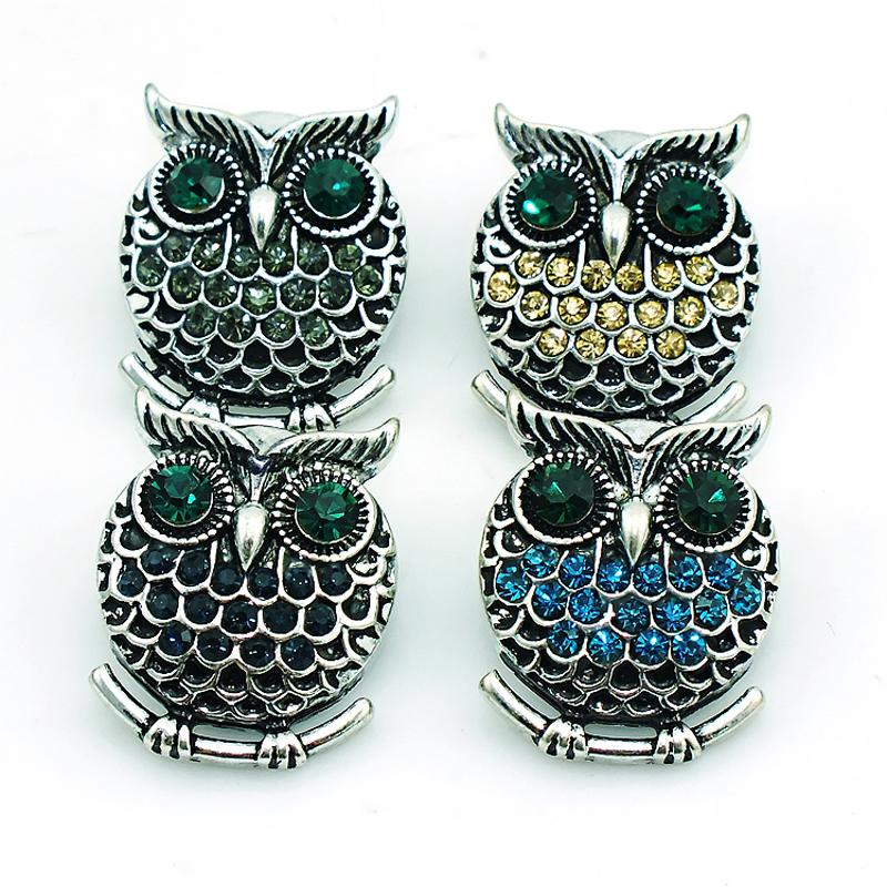 Fashion 18mm Snap Buttons 4 Couleur Rhinestone Owl Charms Metal Fermoirs DIY Noo