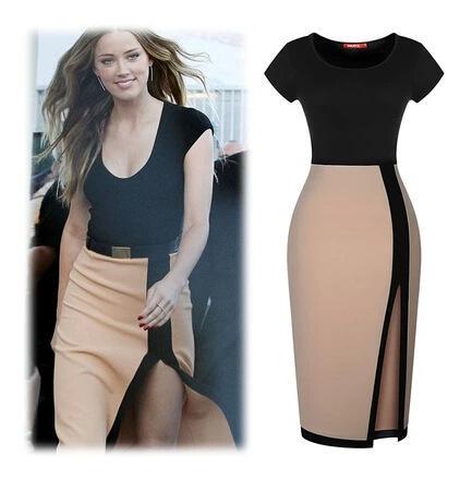 Bodycon Dresses Black 2015 Sheath Casual Dress Knee Length Side ...