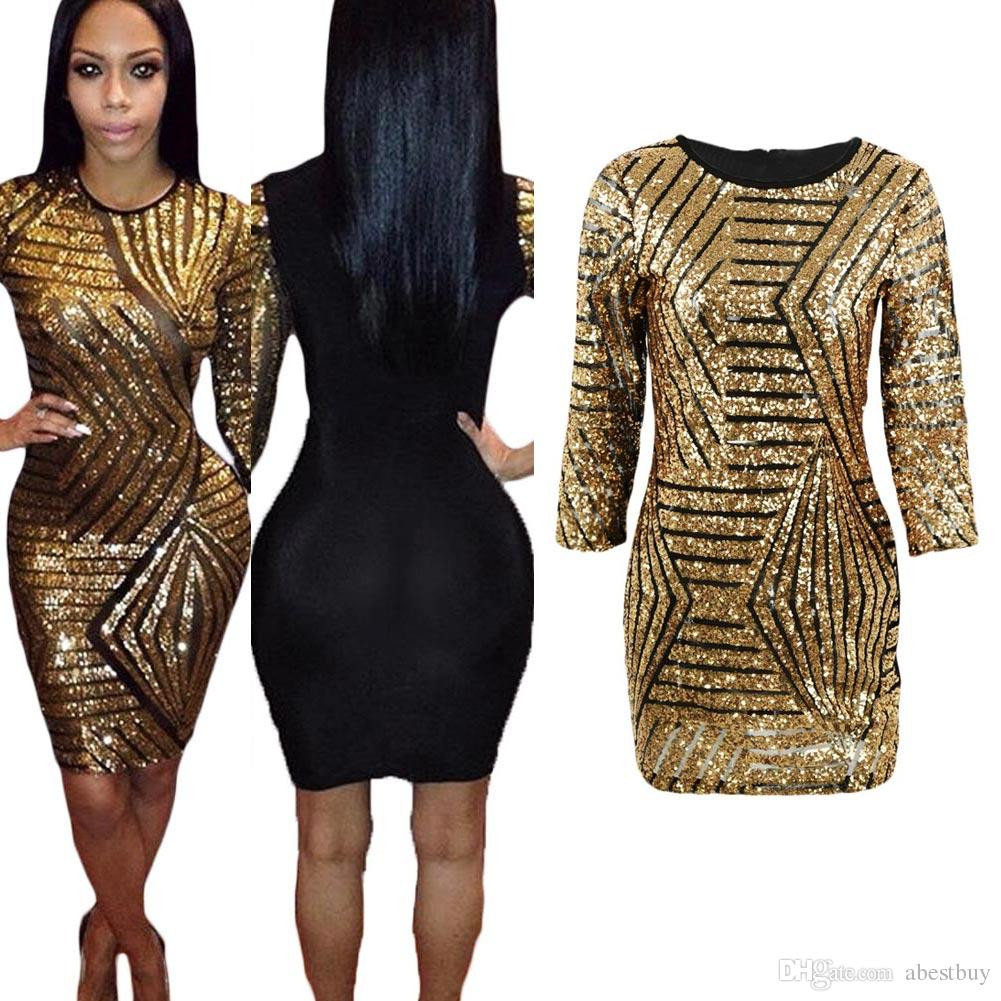 3 4 sleeve gold dress plus