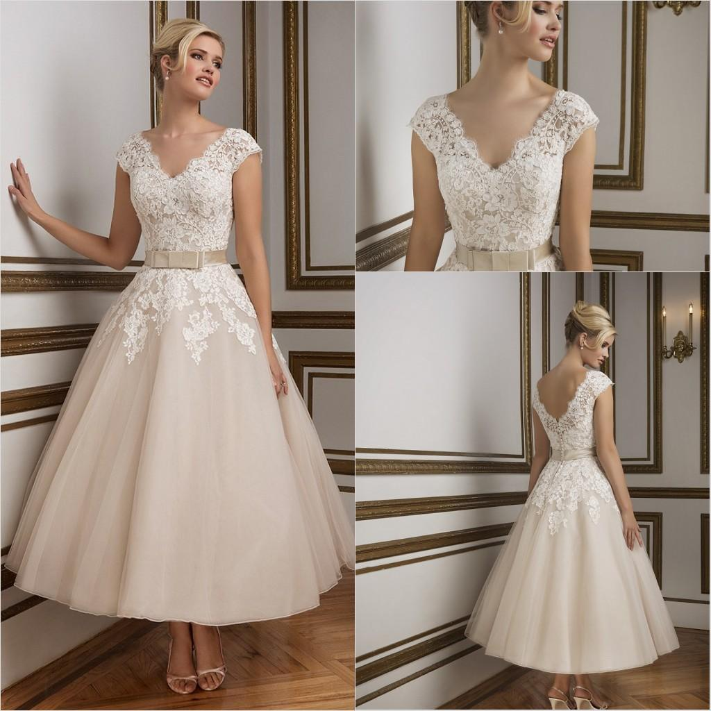 Lace ankle length a line wedding dresses formal beach for Ankle length wedding dress with sleeves