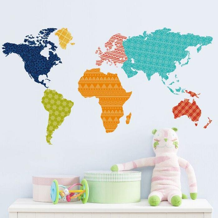 Color World Map Wall Stickers Colorful World Map Sticker Living Room Home  Decorations Creative PVC Decal