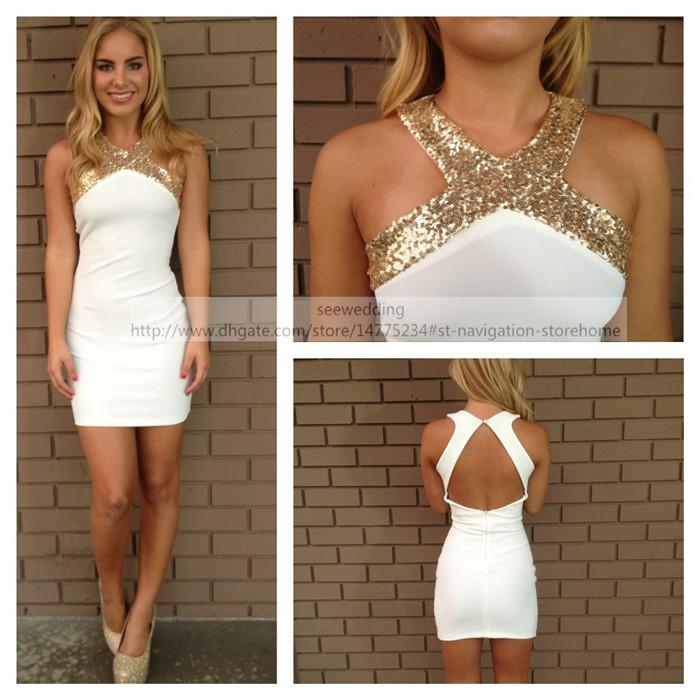 Gold Sequin Short White Party Dresses Halter Cut Out Open Back ...
