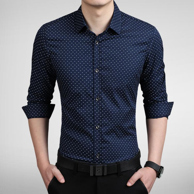 New Fashion Dot Men Shirt Slim Fit Mens Dress Shirts Camisas ...
