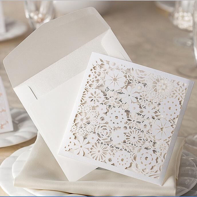 wholesale 2016 stock cheap white floral paper cut wedding, Wedding invitations
