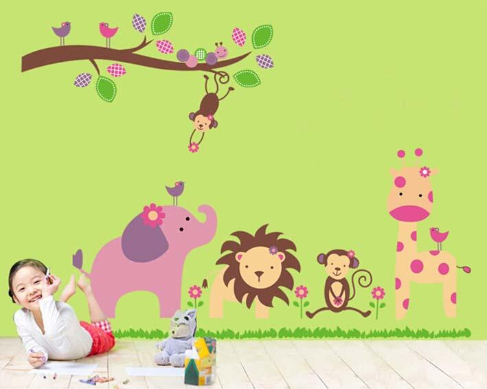 Classroom Decoration Kids ~ Cartoon zoo animals stickers children room decoration