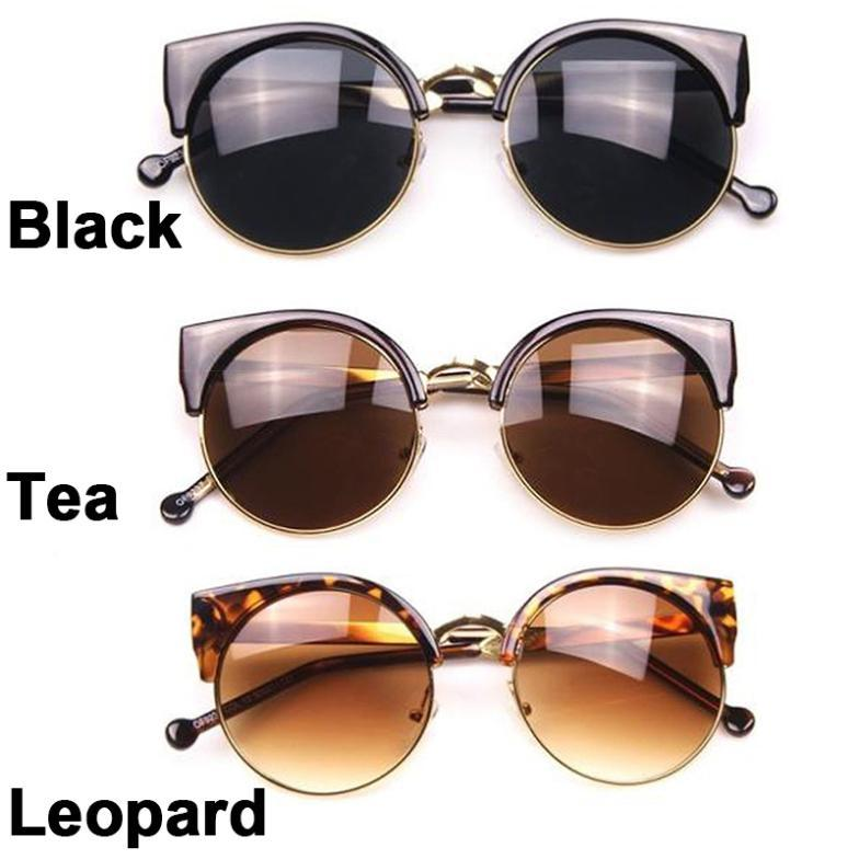Eyeglass Frame Visualizer : Stylish Cat Eye Unisex Semi-Rimless Sunglasses Super Round ...