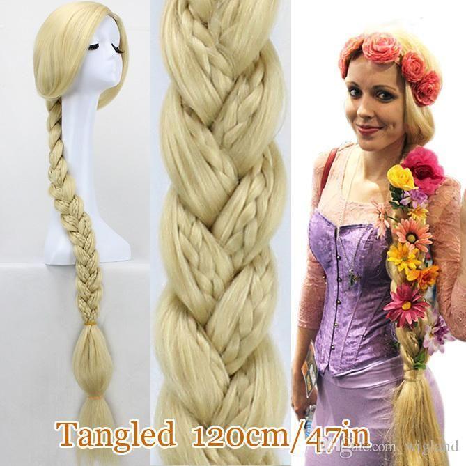 Tangled Princess Rapunzel Long Hair Wig 120cm Long Blonde