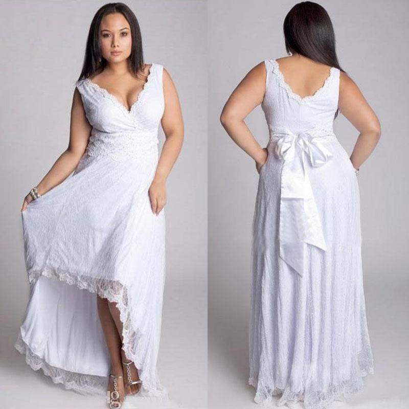 2016 Plus Size Hi Lo A Line Wedding Dresses V Neck Empire