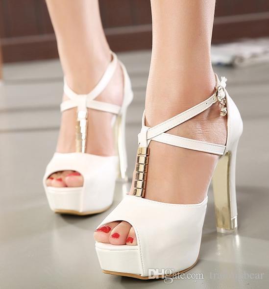 Sexy Cross Strap Chunky Heel Rhinestone Wedding Shoes Women High
