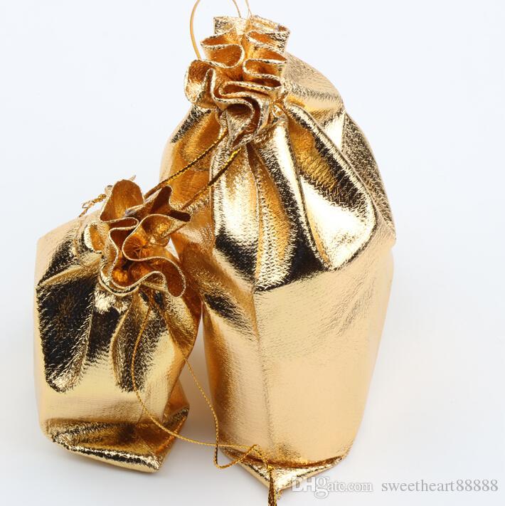 New 4sizes Fashion Gold Plated Gauze Satin Jewelry Bags Jewelry Christmas Gift Pouches Bag 6x9cm 7X9cm 9x12cm 13x18cm
