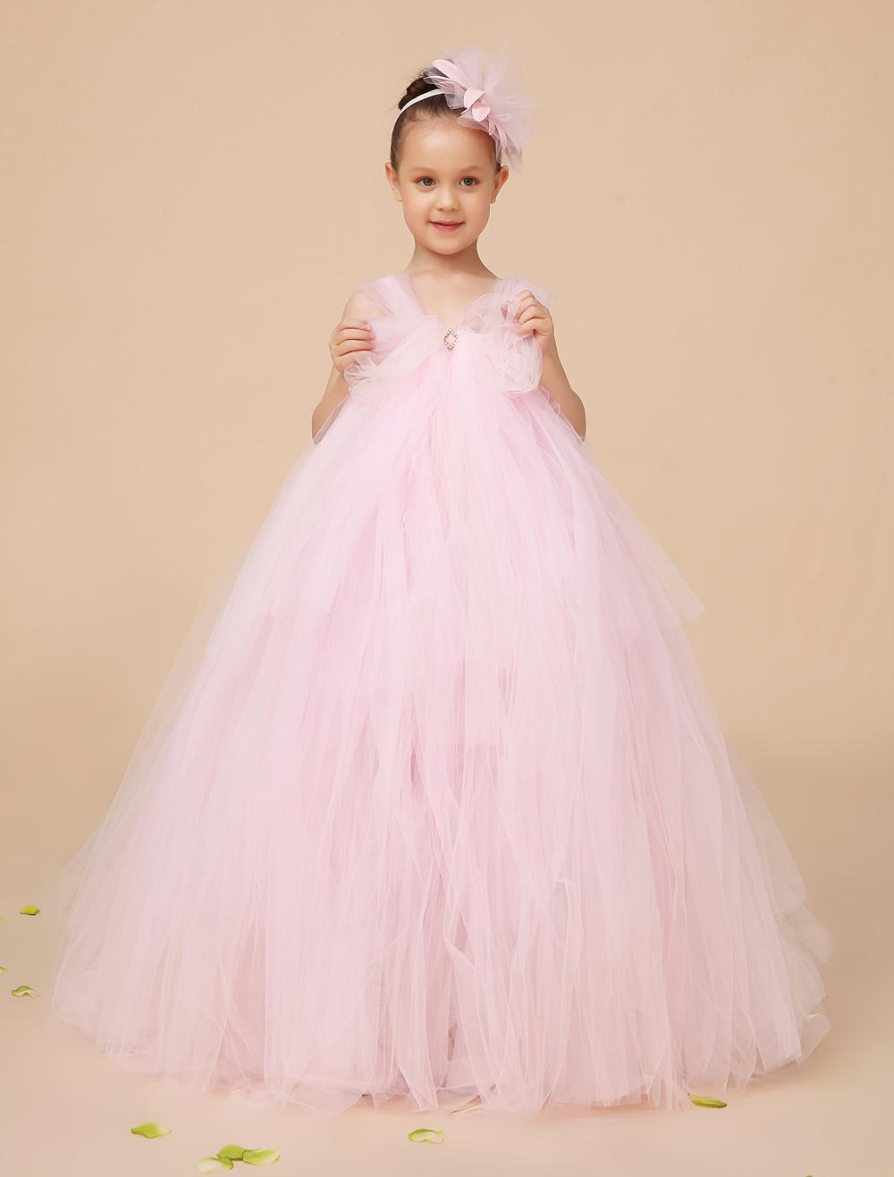 Light Pink Ball Gown Tulle Flower Girls Dress Elegant Kids Formal ...