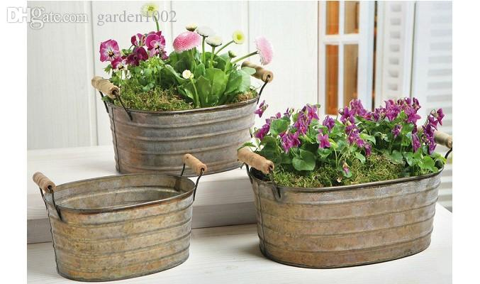 2017 vintage garden flower pot set rustic style iron - Vasi in ceramica da esterno ...
