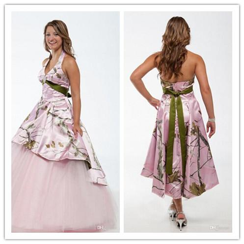 Camo wedding dresses ball gown camouflage with ruffles for Camo ribbon for wedding dress