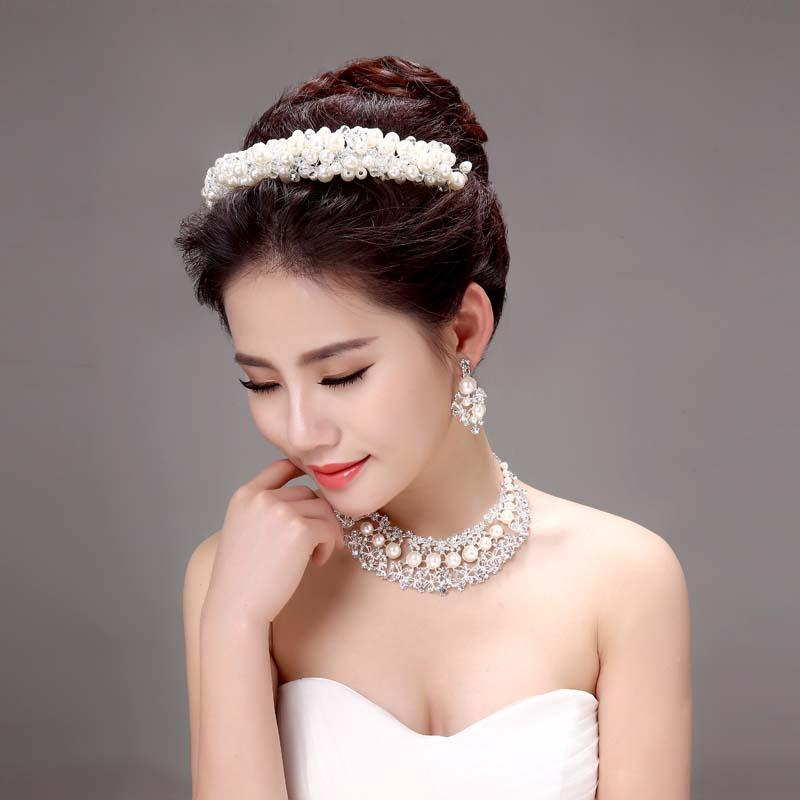 cheap bridal crowns tiaras hair accessories crowns faux pearl wedding