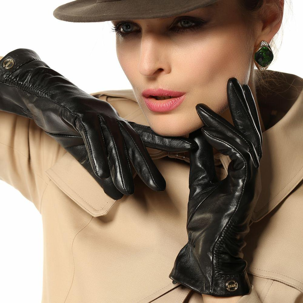 High quality womens leather gloves - Women Leather Gloves Wrist Short Slim Genuine Leather Gloves Female Fashion Sheepskin Leather Gloves For Winter Driving