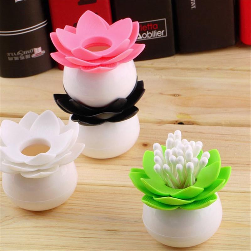 1pc Lot Fashion 4 Colors Lotus Home Decor Toothpick Cotton Swab Holder Storage Box Pick