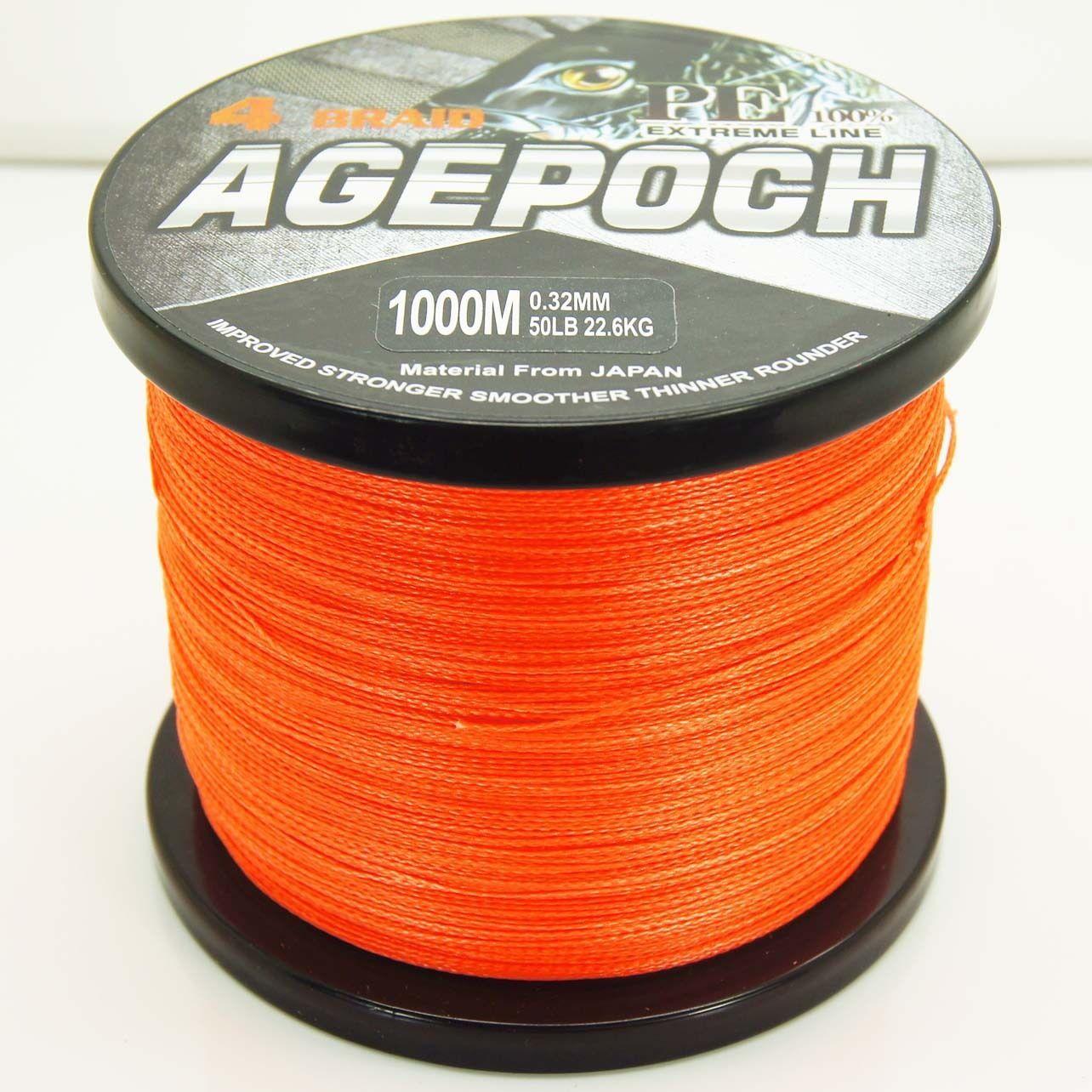 New listing fishing line 1000m 6 40lb orange 100 pe braid for Orange fishing line