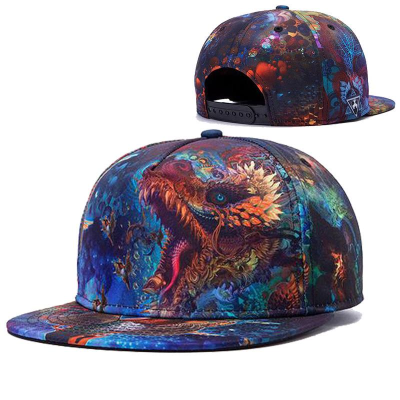 Alisister new arrival fashion women / men snapback hats imprimé fleurs dragons s