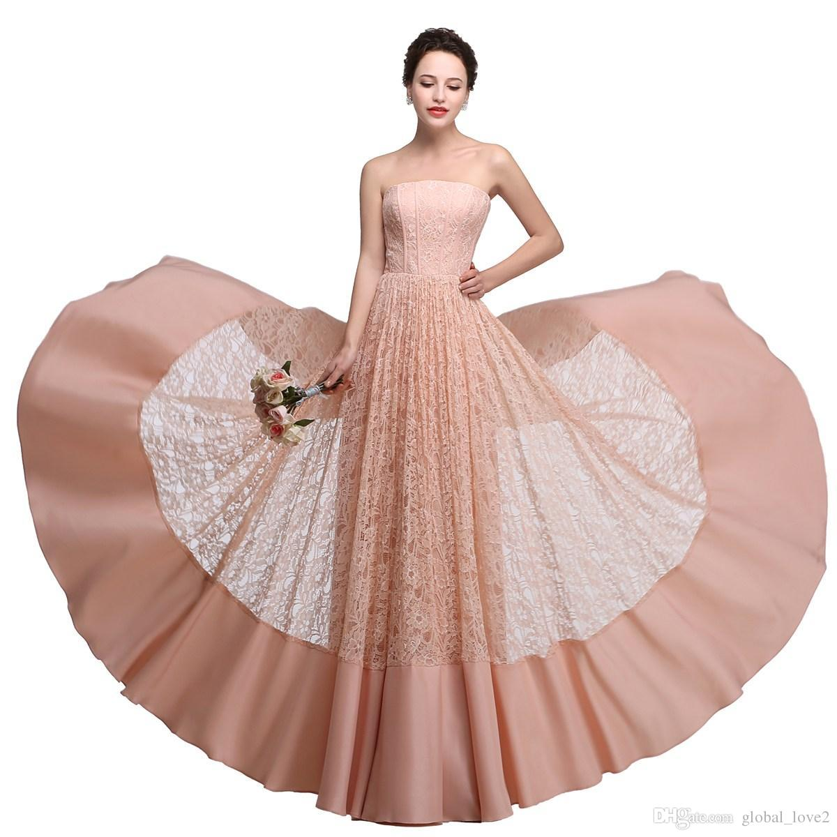 Lace long bridesmaid dresses cheap strapless pink coral bridesmaid lace long bridesmaid dresses cheap strapless pink coral bridesmaid dress formal for 2017 wedding dresses party evening beach maid of honor lace long ombrellifo Image collections