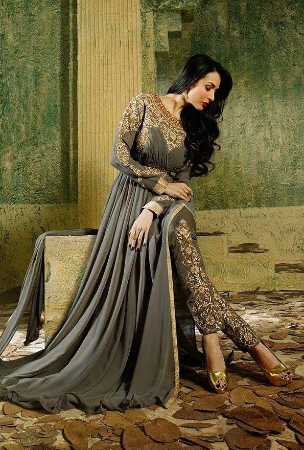 Malaika Grey Pant Style Anarkali Pakistani Dresses 2016 New Design Custom Make Luxury Gold